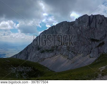 Montenegro Scenic Mountain Landscape Shot At Durmitor National Park. Mountain Valley Scenery Landsca