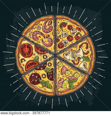 Set Slice Pizza Pepperoni, Hawaiian, Margherita, Mexican, Seafood, Capricciosa With Ray. Vintage Vec