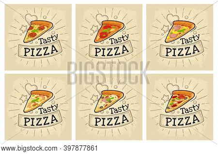 Set Slice Pizza Pepperoni, Hawaiian, Margherita, Mexican, Seafood, Capricciosa. Flat Icon