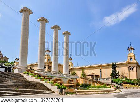 Columns Of Montjuic In Barcelona In Summer, Spain