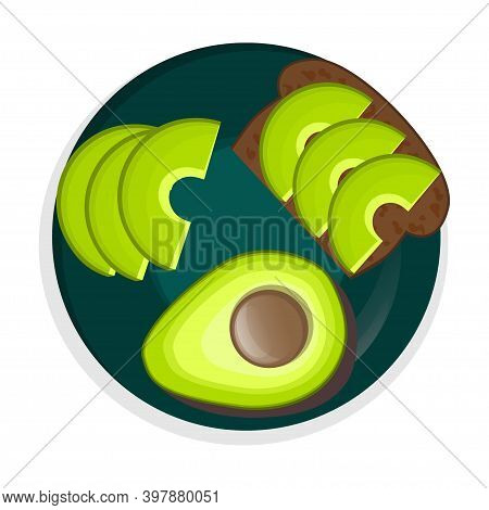A Plate Of Avocado Is Isolated On A White Background. Sliced Avocado, Avocado On Black Bread And Hal