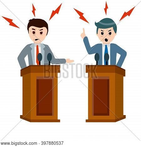 Political Debate And Dispute Between Two Presidential Candidates. Tribune And Stand. Dialogue And El