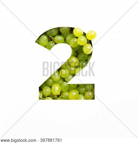 Number Two Made Of Green Grape And Paper Cut In Shape Of Second Numeral Isolated On White. Typeface