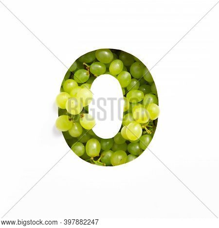 Number Zero Made Of Green Grape Berries And Paper Cut Null Shape Isolated On White. Natural Fresh Ty