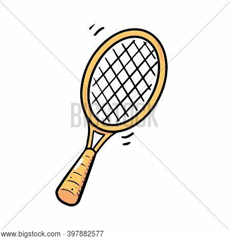 Hand Drawn Tennis Racquet Element. Doodle Sketch Style. Sport Element Drawn By Digital Brush-pen. Il