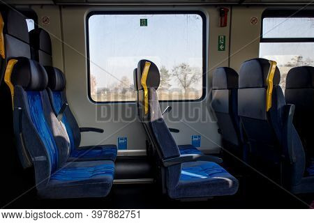 Empty Seats In A Second Class Carriage On A Train