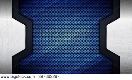Vector Illustration Of Abstract Stainless Steel Metal Panel With Grunge Overlay Metallic Texture And