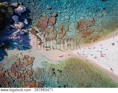 Isola Bella At Taormina, Sicily, Aerial View Of The Island And Isola Bella Beach And Blue Ocean Wate