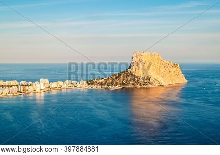 Peon D'ifach Aka Calpe Rock On Costa Blanca, Spain. One Of The Most Famous Landmarks Along The Costa