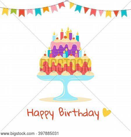 Birthday Cake Flat Greeting Cartoon Dessert Vector