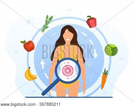 Metabolism Of Human Organism. Cartoon Young Woman Eating Diet Food For Energy. Digestion, Metabolic