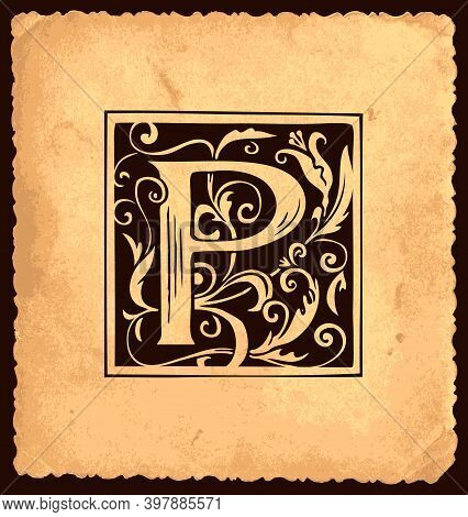 Black Initial Letter P With Vintage Baroque Decorations On An Old Paper Background In Vintage Style.