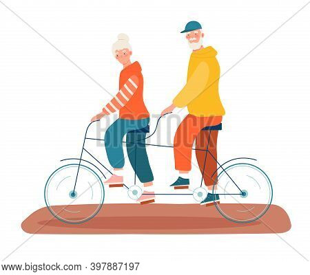 Elderly People Man And Woman Riding Bicycle. Outdoor Activity For Retired People, Healthy Lifestyle.
