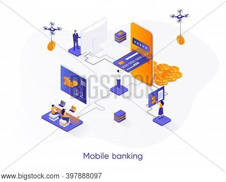 Mobile Banking Isometric Web Banner. Digital Wallet, Fintech Mobile Application Isometry Concept. Mo