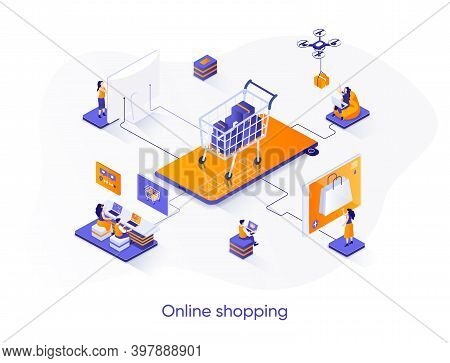 Online Shopping Isometric Web Banner. E-commerce Platform Isometry Concept. Web Solution For Online