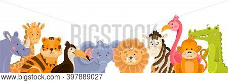 Illustration Of Various Jungle Animals For Background In Cartoon Style. Colorful Modern Illustration