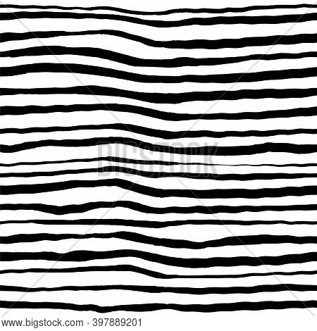 Vector Seamless Pattern With Hand Drawn Lines .. Ink Wavy Line. Print For Fabric, Paper, Wallpaper.