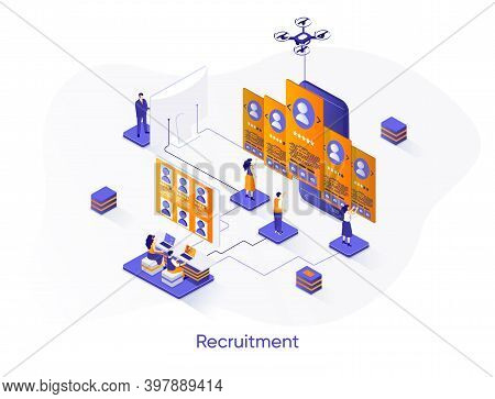 Recruitment Isometric Web Banner. Personnel Hiring And Employment Isometry Concept. Human Resource M