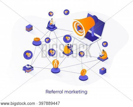 Referral Marketing Isometric Web Banner. Social Network Promotion Isometry Concept. Attraction Of Ne