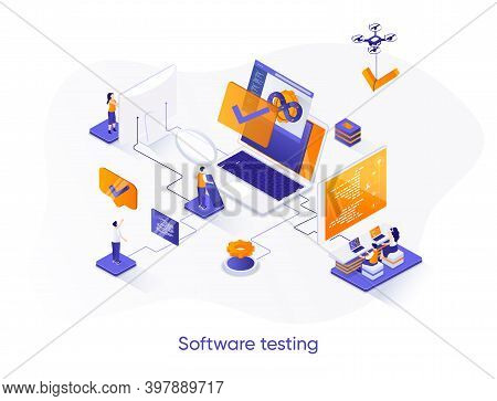 Software Testing Isometric Web Banner. Software Debugging And Quality Assurance Isometry Concept. Se