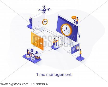 Time Management Isometric Web Banner. Effective Planning Workflow, Performing Tasks Isometry Concept