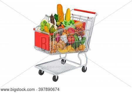 Shopping Trolley With Grocery Products, Fruits And Vegetables. 3d Rendering Isolated On White Backgr