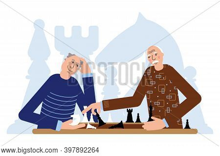 Two Old Seniors Are Playing Chess. In The Chessboard There Are White And Black Chess Pieces.
