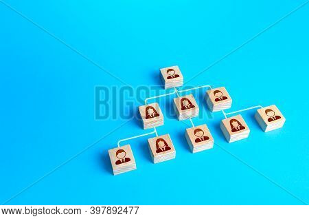 Blocks Connected By Lines Form A Hierarchical Pyramid Of The Company. Classic Conformism System Of T