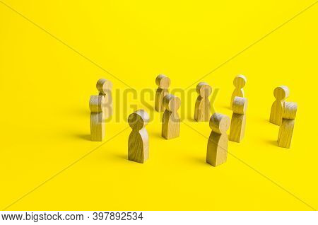Figures Of People Stand Randomly On A Yellow Background. People Society Concept. Behavior And Social