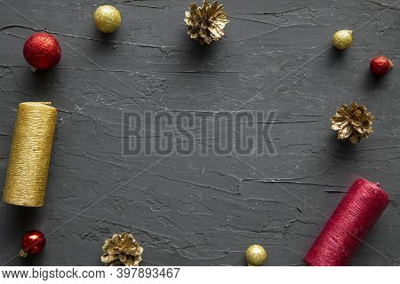 Red And Golden Traditional Christmas Decoration Frame And Space For Text, Golden Pinecones And Color