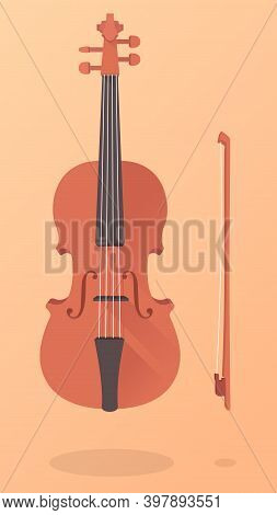 An Old Vintage Brown Violin With A Bow. Fiddle In 3d Cartoon Style On Orange Background. A Classic S