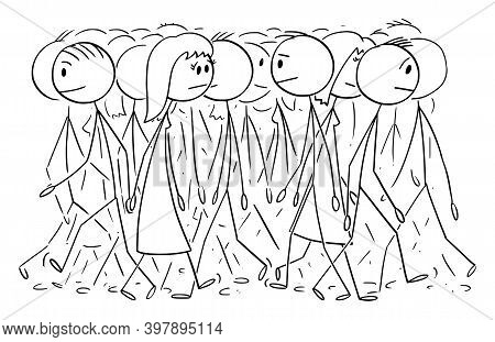 Vector Cartoon Stick Figure Illustration Of Anonymous Group Or Crowd Of People Walking On Street, Pe