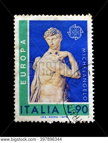 Italy - Circa 1974 : Cancelled Postage Stamp Printed By Italy, That Shows