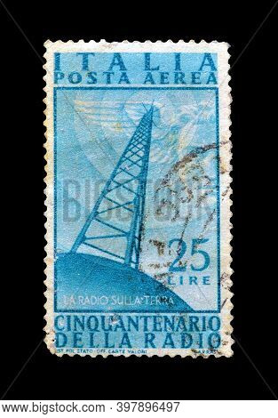 Italy - Circa 1947 : Cancelled Postage Stamp Printed By Italy, That Shows Radio Antenna And Commemor