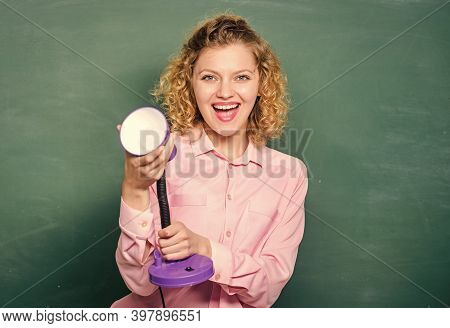 Happy Shining. Student Girl Working With Electricity. Teacher With Lamp At School Blackboard. Brains