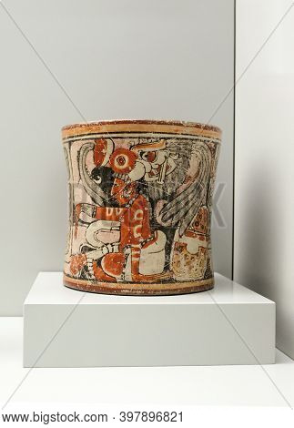 Madrid, Spain - Jul 11th, 2020: Drinking Cup For Cacao. Mayan Culture. 600 Ad, Guatemala, Ceramic. M