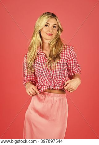 Vintage And Retro. Fashion And Beauty. Pin Up Style. Hot Desirable Blonde. Playful Lady On Red Backg
