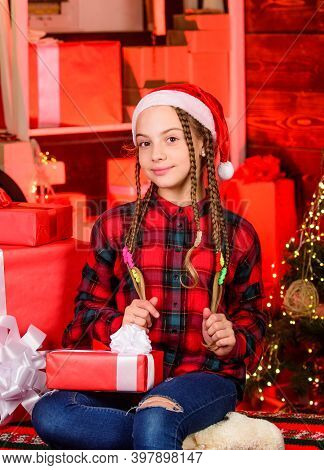 Girl Celebrate Christmas. Epitome Of Sophistication. Happy Kid With Gift Christmas Tree. Childhood G