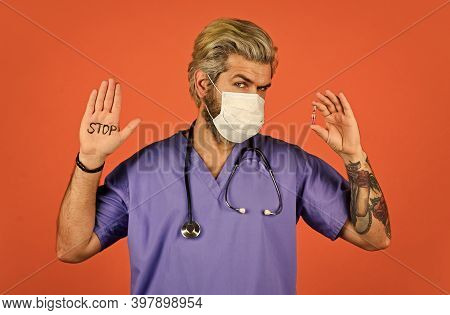 Open Palm Stop Gesture. Critical Number Or Density Of Susceptible Hosts. Epidemic Threshold. Man In