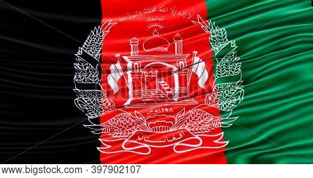 Waving Colorful National Flag Afghanistan, Amazing Flag Of Afghanistan, .3d Render