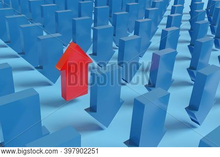 Red Arrow Pointing Up Alongside Many Other Blue Arrows Pointing Down. 3d Illustration.