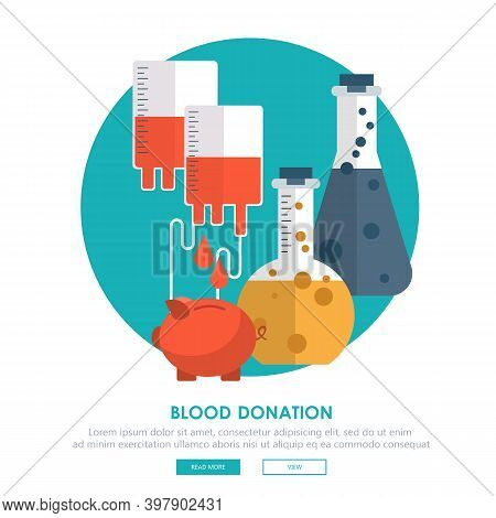 Blood Donation Concept. Background With Piggy Bank And Blood Container. Flat Vector Illustration