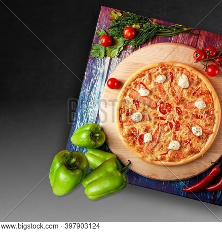 Round Pizza On Fluffy Dough With Mozzarella Cheese And Sweet Green Pepper