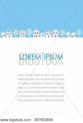 Vector Townscape Illustration With Text Space Isolated On A White Background.