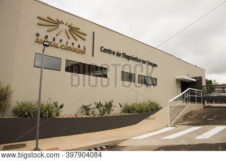 Jau / Sao Paulo / Brazil - 02 21 2020: Facade Of Amaral Carvalho Hospital - Imaging Diagnostic Cente