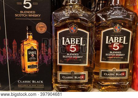 Belgrade, Serbia - November 15, 2020: Label 5 Whisky Logo On Some Bottles For Sale. Label 5 Is A Bra