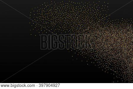 Golden Glow Falling Black Background. Glamour Round Design. Gold Dot Paper Card. Confetti Bright Wal
