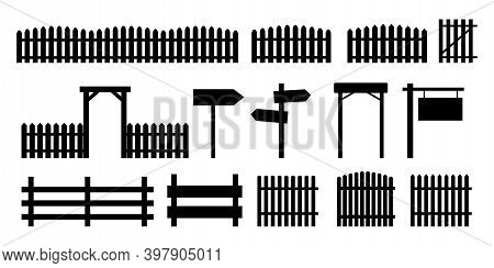 Fences Silhouettes, Great Design For Any Purposes. Silhouettes Of Road Signs Signpost. Stock Image.