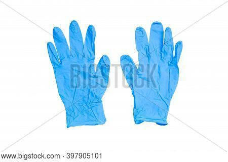 Blue Medical Gloves For Health Protection With Clipping Path Isolated White Background.