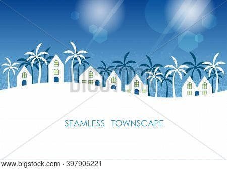 Seamless Tropical Townscape With Text Space Isolated On A White Background. Vector Illustration. Hor